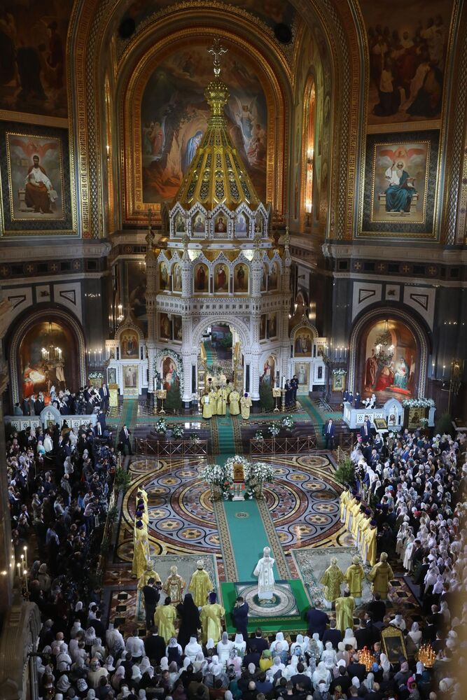 Nabożeństwo Bożonarodzeniowe w Katedrze Chrystusa Zbawiciela w Moskwie