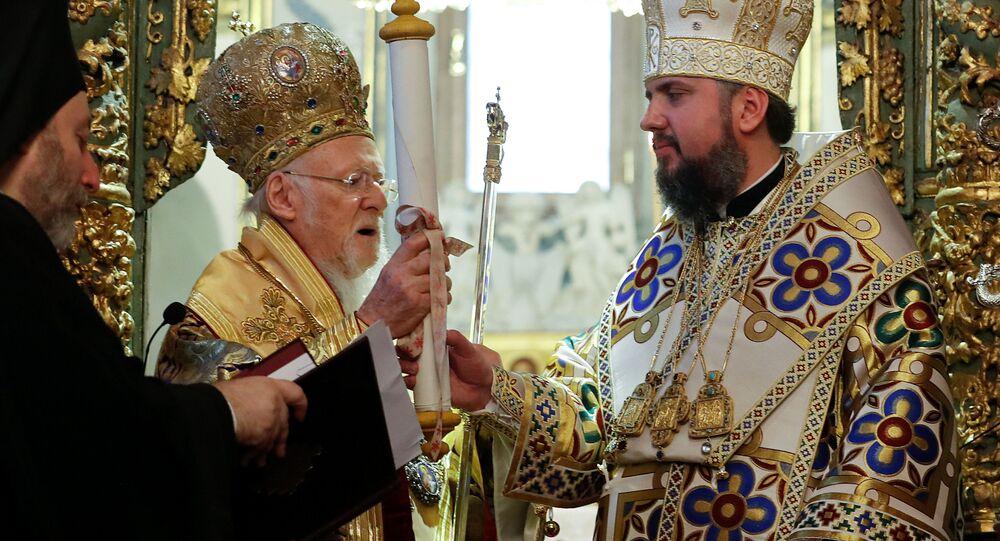 Patriarcha Konstantynopola Bartłomiej i metropolita Epifaniusz podczas mszy w Soborze św. Jerzego w Stambule, Turcja
