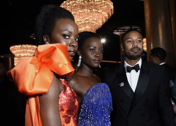 Aktorzy Danai Gurira, Lupita Nyong'o i Michael B. Jordan - Sputnik Polska