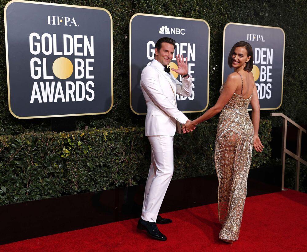 Najlepszy aktor w filmie dramatycznym Bradley Cooper z żoną Iriną Shayk