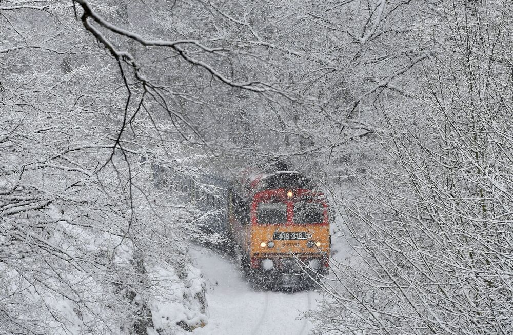 Pociąg na tle zimowego pejzażu, Węgry