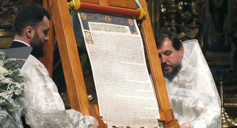 """Tomos o autokefalii """"nowego kościoła"""" Ukrainy w Soborze Mądrości Bożej w Kijowie"""