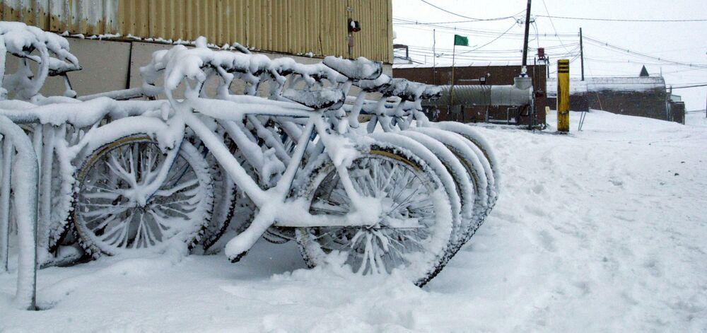 Rowery pokryte śniegiem przy stacji naukowo-badawczej McMurdo na Antarktydzie