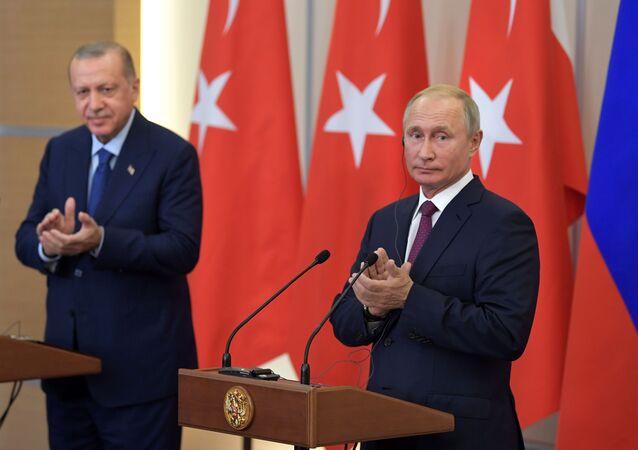 Spotkanie prezydentów Rosji i Turcji Władimira Putina i Recepa Tayyipa Erdogana