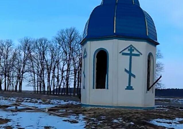 Zdemolowana kaplica kanonicznego Ukraińskiego Kościoła Prawosławnego Patriarchatu Moskiewskiego w obwodzie żytomierskim