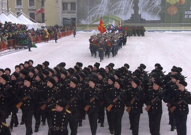 Parada z okazji 75. rocznicy zakończenia blokady Leningradu