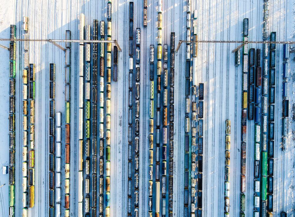 Pociągi towarowe na stacji Bekasowo-Sortirowocznoje pod Moskwą