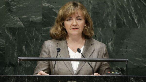 Szefowa resortu polityki zagranicznej Mołdawii Natalia Herman podczas przemówienia w ONZ - Sputnik Polska