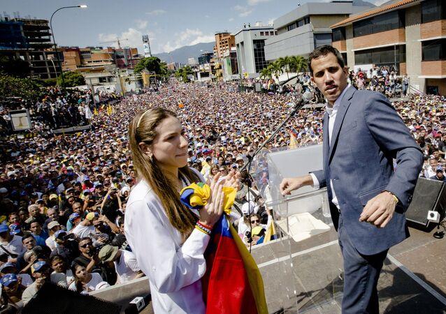 Akcja poparcia lidera opozycji Juana Guaido w Caracas