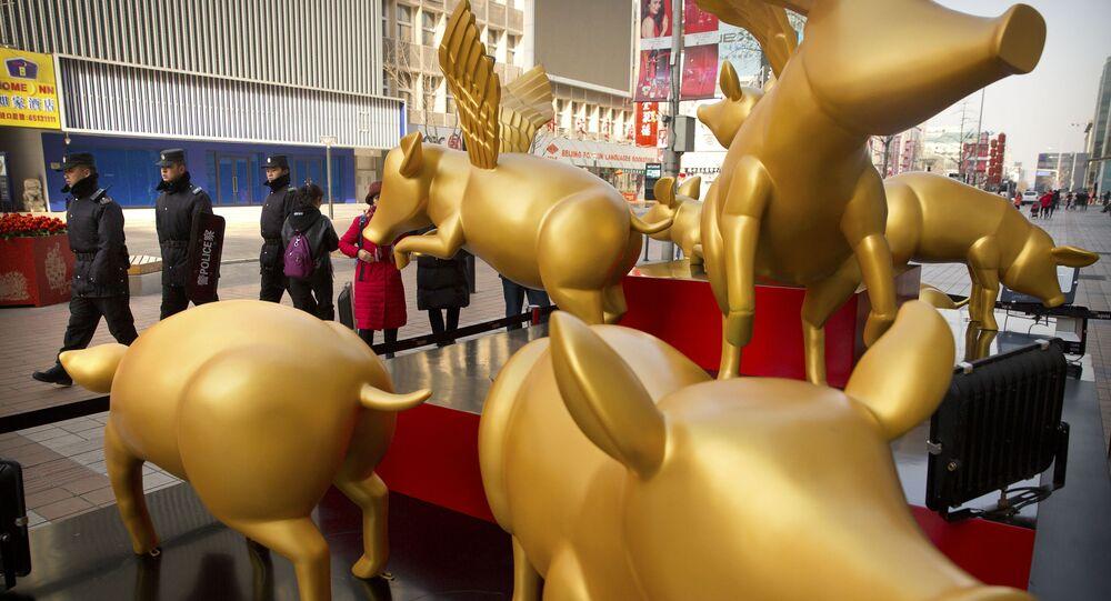 Posągi złotych świń z okazji Nowego Roku w Pekinie