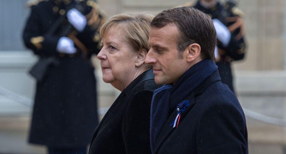 Kanclerz RFN Angela Merkel i prezydent Francji Emmanuel Macron