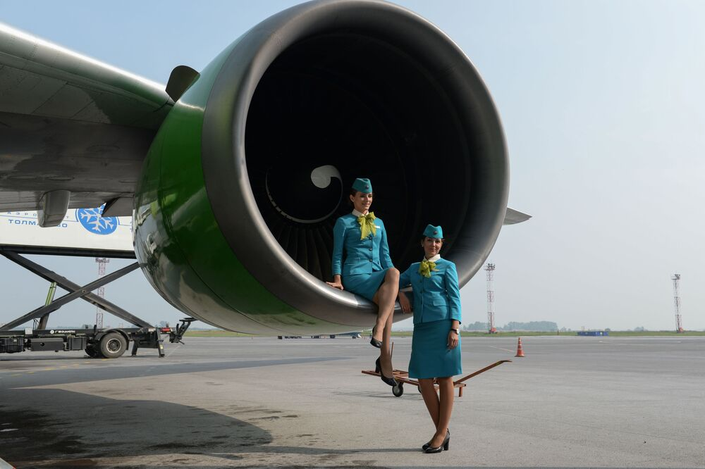 Stewardessy linii lotniczych S7 w Nowosybirsku