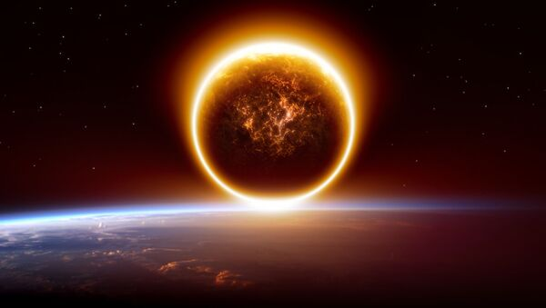 Художественное изображение планеты Нибиру на горизонте Земли - Sputnik Polska