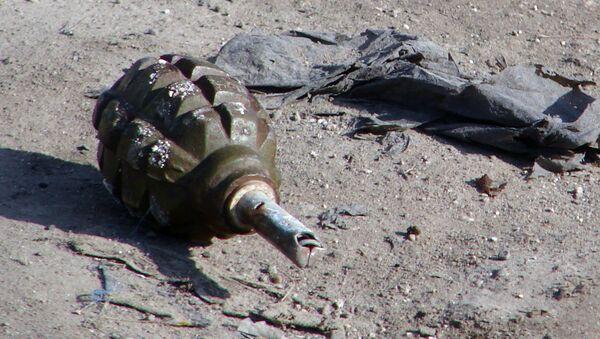 Zużyty granat ręczny na ziemi - Sputnik Polska
