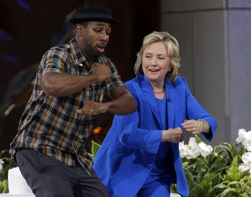 Kandydat na prezydenta USA Hillary Clinton w Rockefeller Center w Nowym Jorku