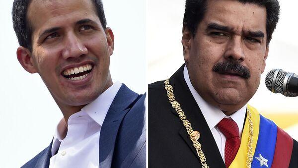 Przywódca opozycji Juan Guaido i wenezuelski prezydent Nicolas Maduro - Sputnik Polska