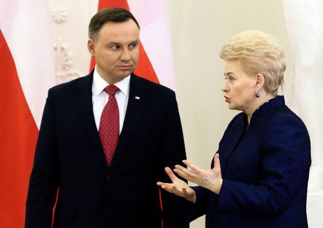 Prezydent Polski Andrzej Duda i prezydent Litwy Dalia Grybauskaitė