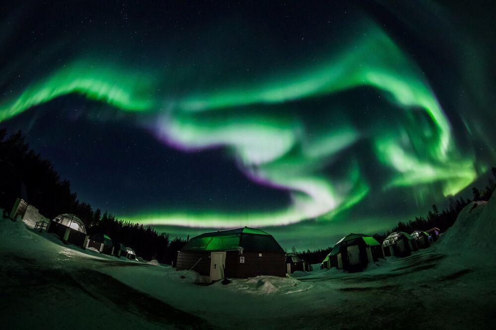 Zorza polarna w Rovaniemi, Finlandia