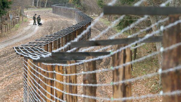 Пограничный наряд идет вдоль контрольно-следовой полосы у пограничного перехода между Белоруссией и Польшей Переров - Sputnik Polska